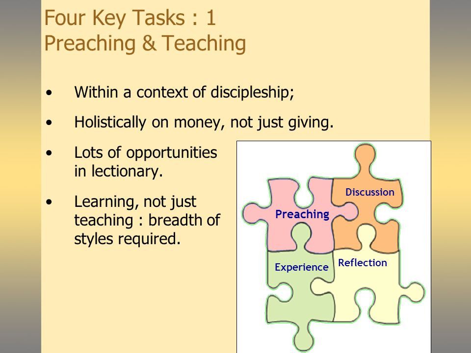 Giving for Life Four Key Tasks : 1 Preaching & Teaching Within a context of discipleship; Holistically on money, not just giving.