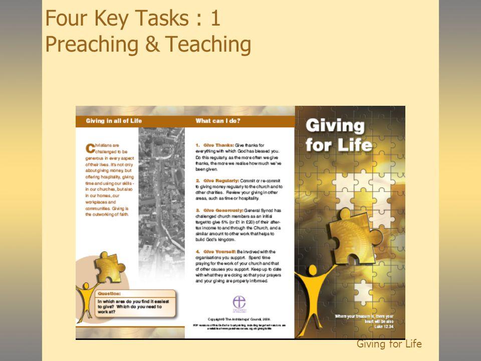 Giving for Life Four Key Tasks : 1 Preaching & Teaching