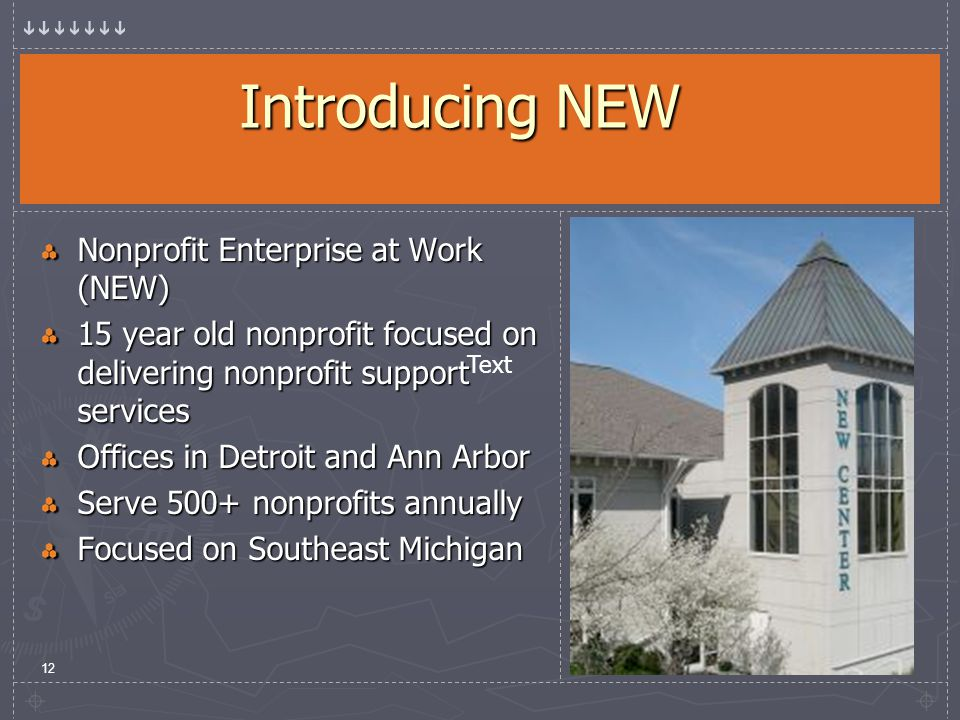 12 Introducing NEW Nonprofit Enterprise at Work (NEW) 15 year old nonprofit focused on delivering nonprofit support services Offices in Detroit and Ann Arbor Serve 500+ nonprofits annually Focused on Southeast Michigan Text