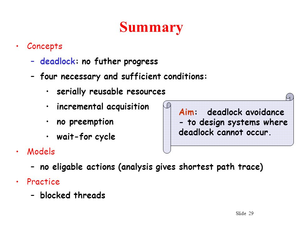 Slide 29 Summary Concepts –deadlock: no futher progress –four necessary and sufficient conditions: serially reusable resources incremental acquisition no preemption wait-for cycle Models –no eligable actions (analysis gives shortest path trace) Practice –blocked threads Aim: deadlock avoidance - to design systems where deadlock cannot occur.