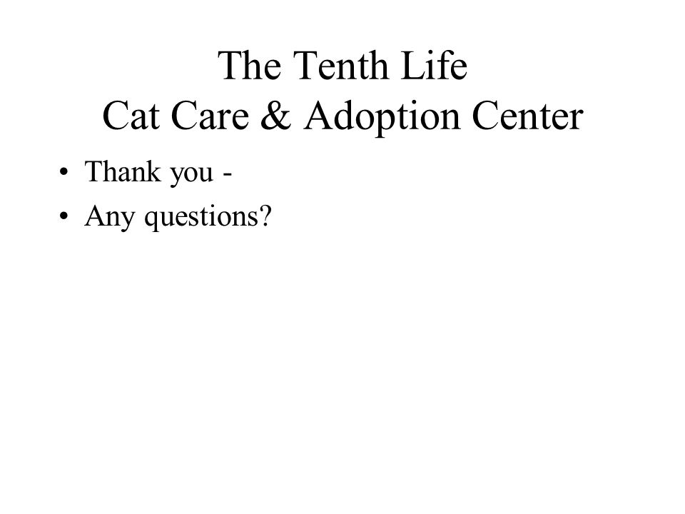 The Tenth Life Cat Care & Adoption Center Thank you - Any questions?