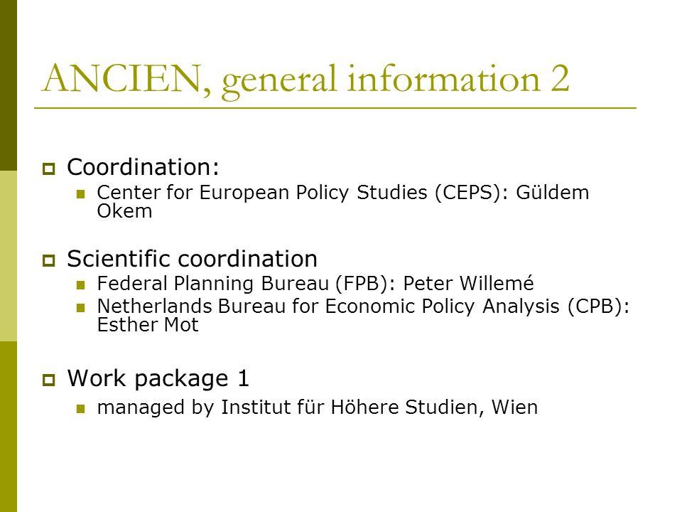 ANCIEN, general information 2  Coordination: Center for European Policy Studies (CEPS): Güldem Okem  Scientific coordination Federal Planning Bureau