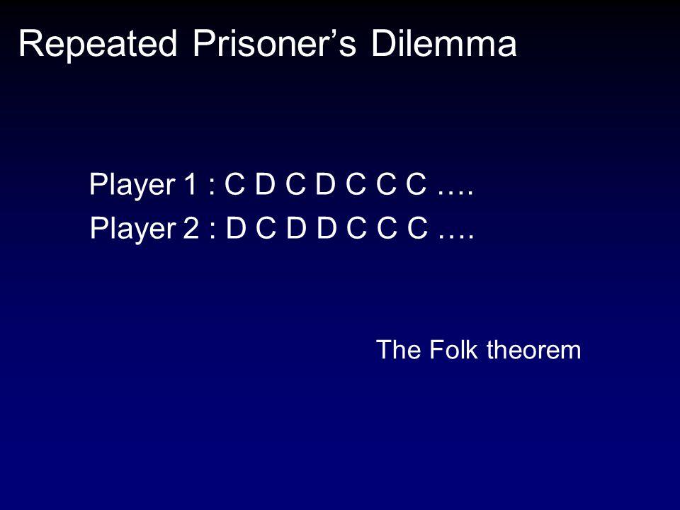 Repeated Prisoner's Dilemma Player 1 : C D C D C C C ….