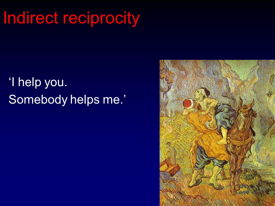 Indirect reciprocity 'I help you. Somebody helps me.'