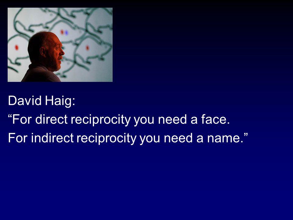 David Haig: For direct reciprocity you need a face. For indirect reciprocity you need a name.