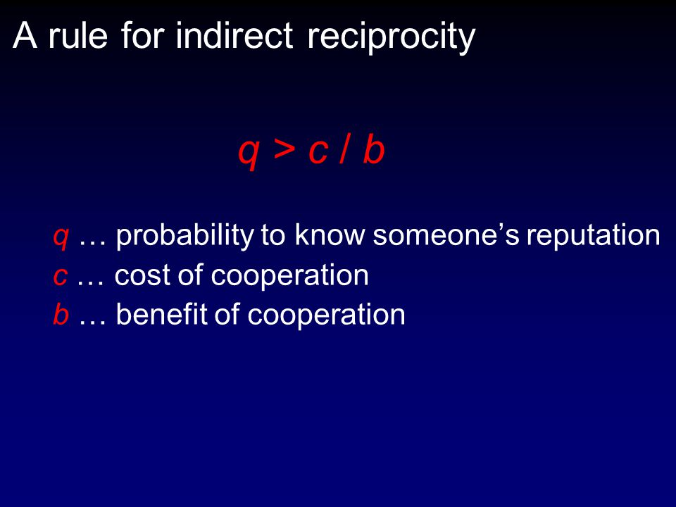 A rule for indirect reciprocity q > c / b q … probability to know someone's reputation c … cost of cooperation b … benefit of cooperation