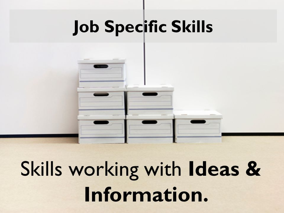 Job Specific Skills Skills working with Ideas & Information.