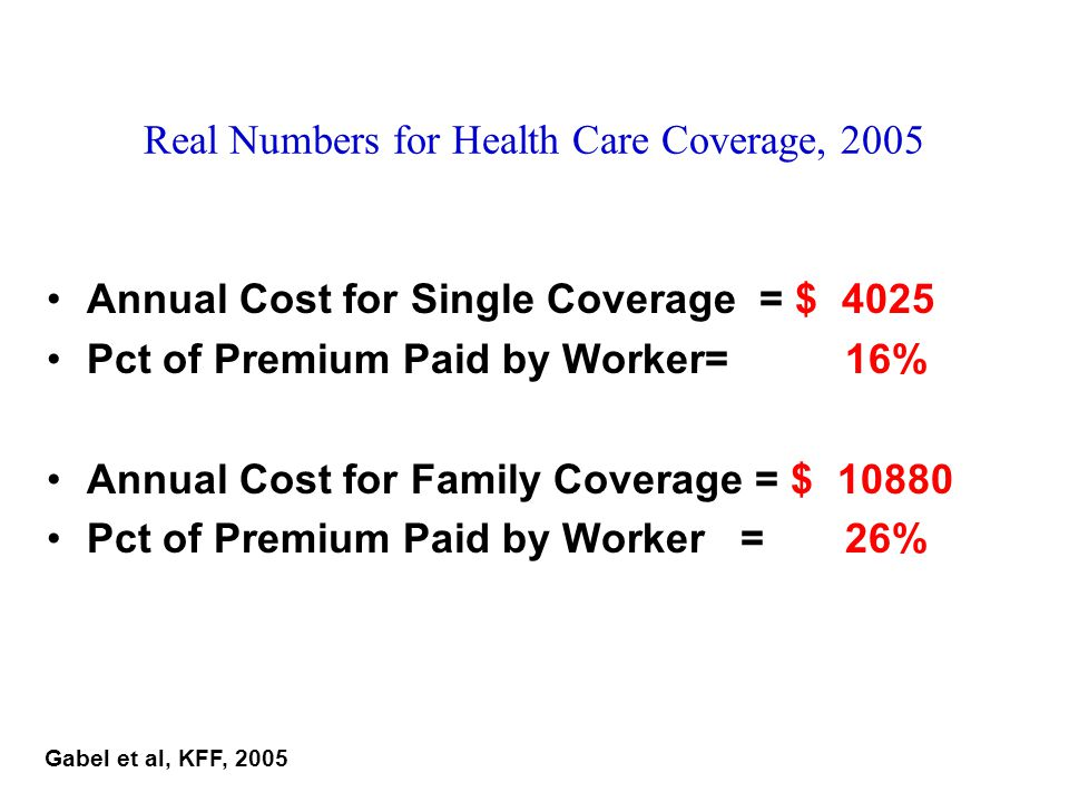 Real Numbers for Health Care Coverage, 2005 Annual Cost for Single Coverage = $ 4025 Pct of Premium Paid by Worker= 16% Annual Cost for Family Coverag