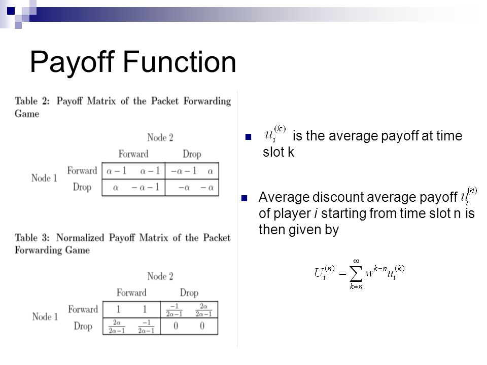 is the average payoff at time slot k Payoff Function Average discount average payoff of player i starting from time slot n is then given by