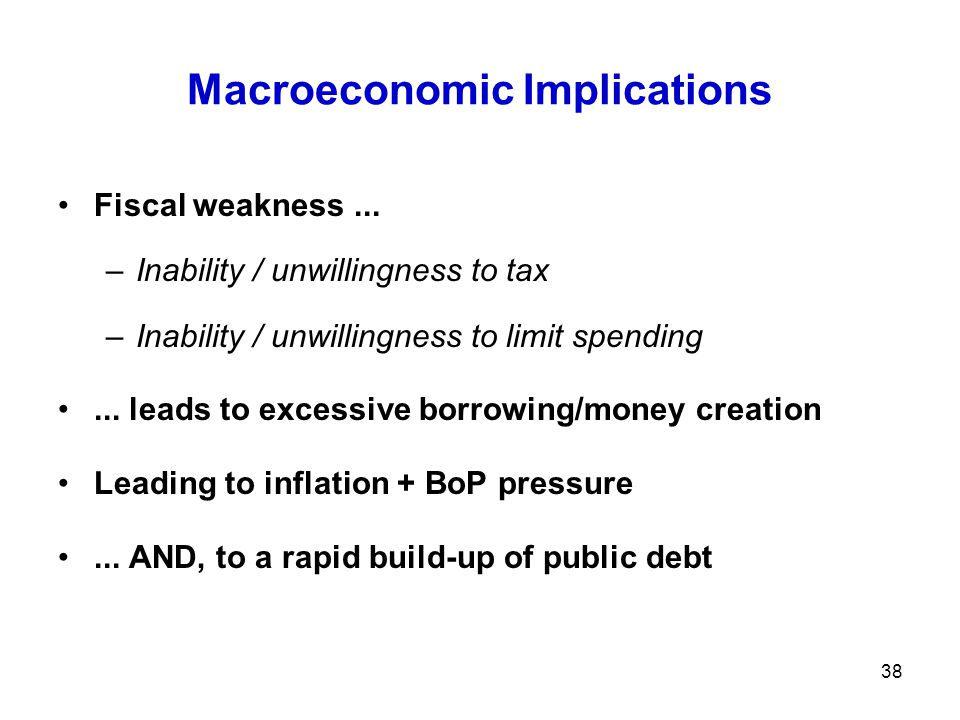 Macroeconomic Implications Fiscal weakness... –Inability / unwillingness to tax –Inability / unwillingness to limit spending... leads to excessive bor