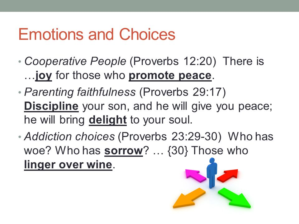 Emotions and Choices Cooperative People (Proverbs 12:20) There is …joy for those who promote peace.