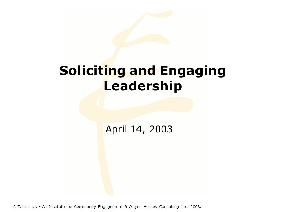 Soliciting and Engaging Leadership April 14, 2003 © Tamarack – An Institute for Community Engagement & Wayne Hussey Consulting Inc.