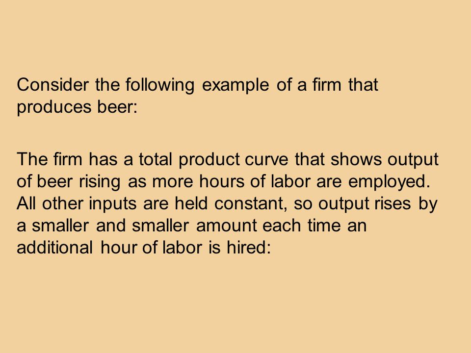 Consider the following example of a firm that produces beer: The firm has a total product curve that shows output of beer rising as more hours of labor are employed.