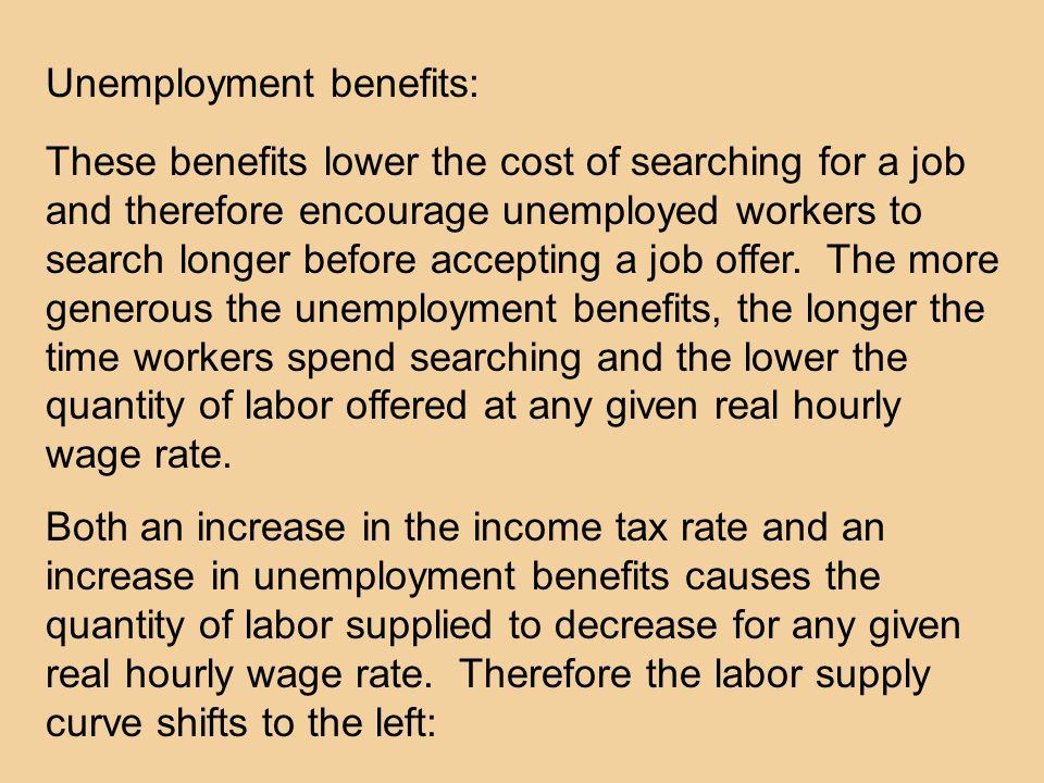 These benefits lower the cost of searching for a job and therefore encourage unemployed workers to search longer before accepting a job offer.