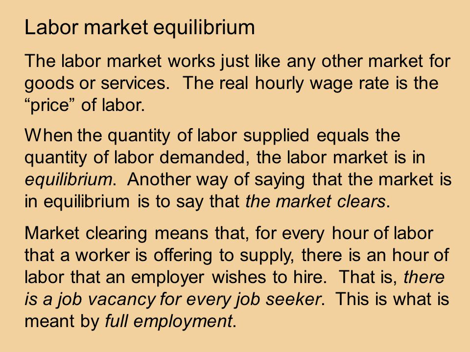 Labor market equilibrium The labor market works just like any other market for goods or services.