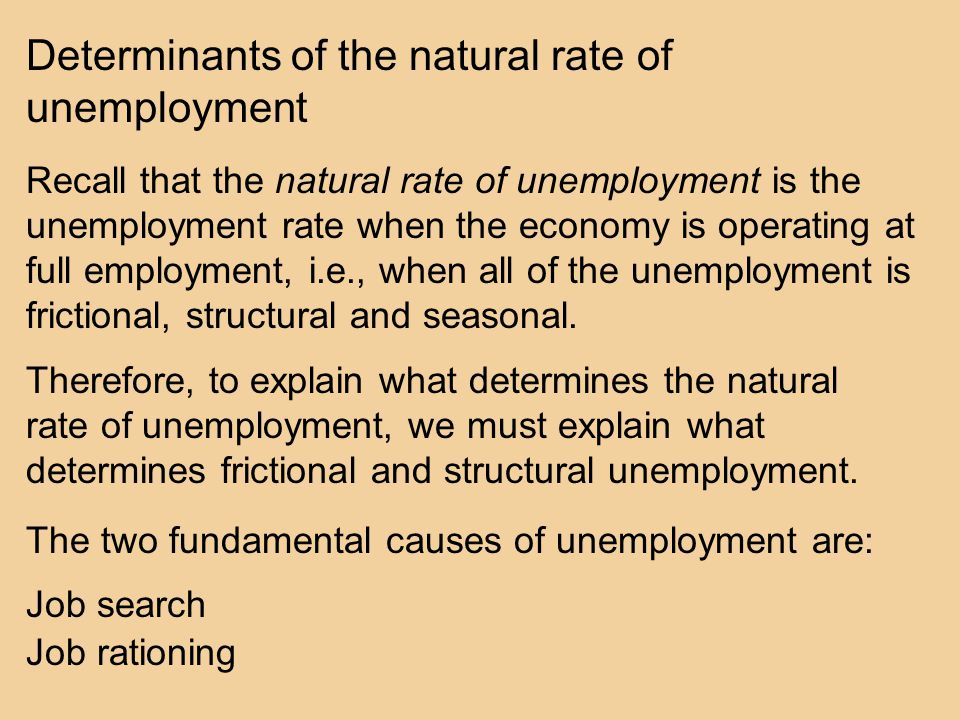 Recall that the natural rate of unemployment is the unemployment rate when the economy is operating at full employment, i.e., when all of the unemployment is frictional, structural and seasonal.