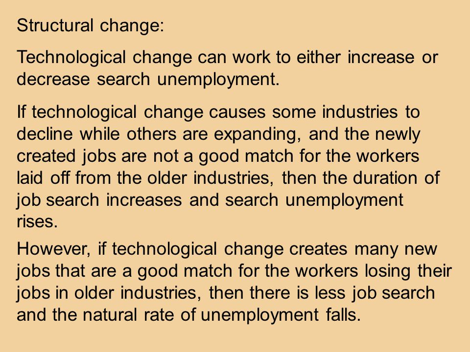 Structural change: Technological change can work to either increase or decrease search unemployment.
