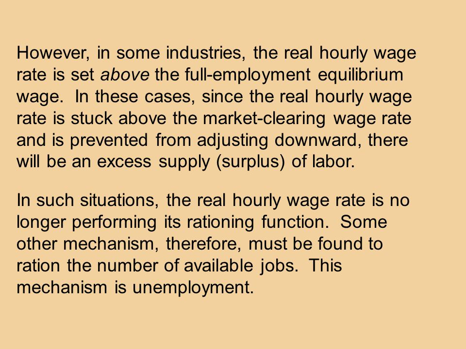 However, in some industries, the real hourly wage rate is set above the full-employment equilibrium wage.