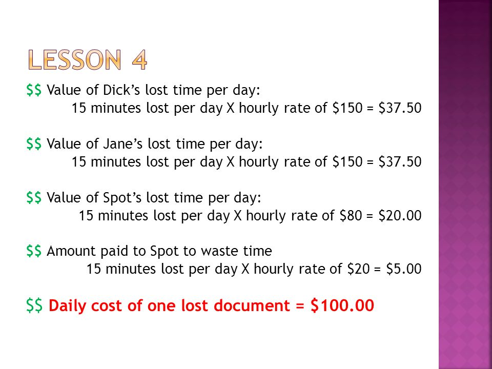 $$ Value of Dick's lost time per day: 15 minutes lost per day X hourly rate of $150 = $37.50 $$ Value of Jane's lost time per day: 15 minutes lost per