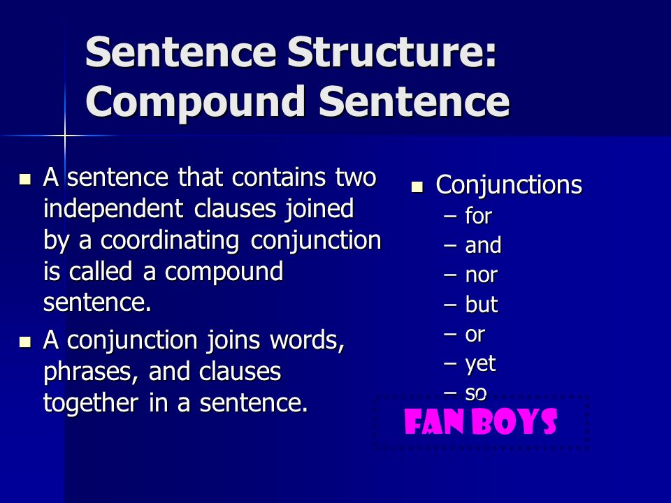 Sentence Structure: Independent Clause A complete sentence has two components, a subject and a verb.