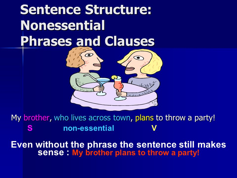 Sentence Structure: Nonessential Phrases and Clauses A nonessential phrase or clause adds extra information to a sentence.
