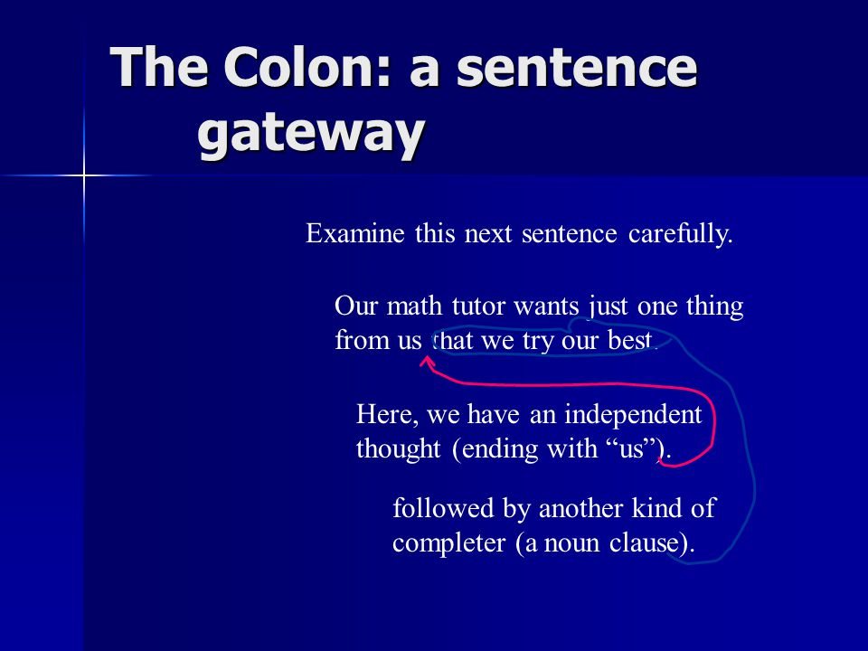 The Colon: a sentence gateway My favorite breakfast foods are meuslix, cornflakes, oatmeal, grits and gravy, and yogurt on toast.