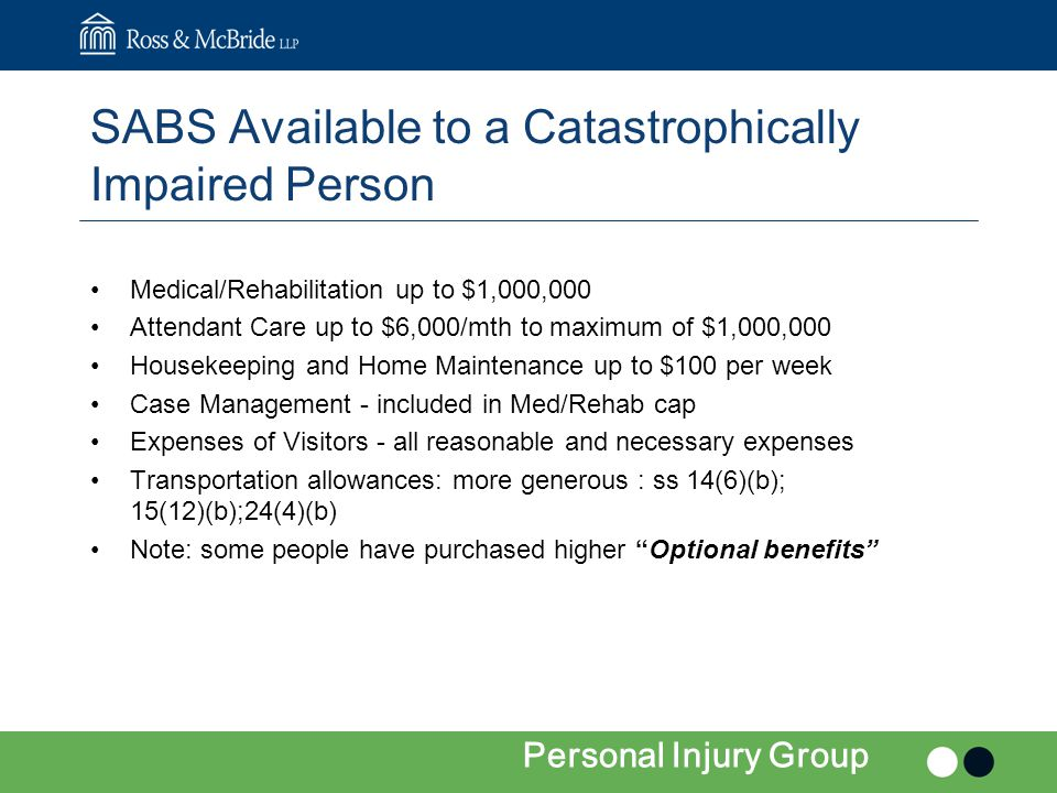 SABS Available to a Catastrophically Impaired Person Medical/Rehabilitation up to $1,000,000 Attendant Care up to $6,000/mth to maximum of $1,000,000 Housekeeping and Home Maintenance up to $100 per week Case Management - included in Med/Rehab cap Expenses of Visitors - all reasonable and necessary expenses Transportation allowances: more generous : ss 14(6)(b); 15(12)(b);24(4)(b) Note: some people have purchased higher Optional benefits Personal Injury Group