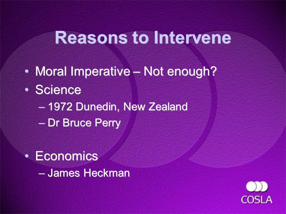 Reasons to Intervene Moral Imperative – Not enough.