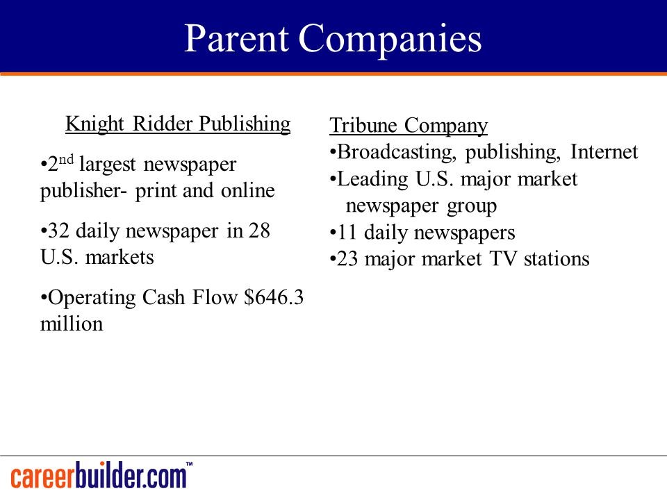 Parent Companies Knight Ridder Publishing 2 nd largest newspaper publisher- print and online 32 daily newspaper in 28 U.S. markets Operating Cash Flow