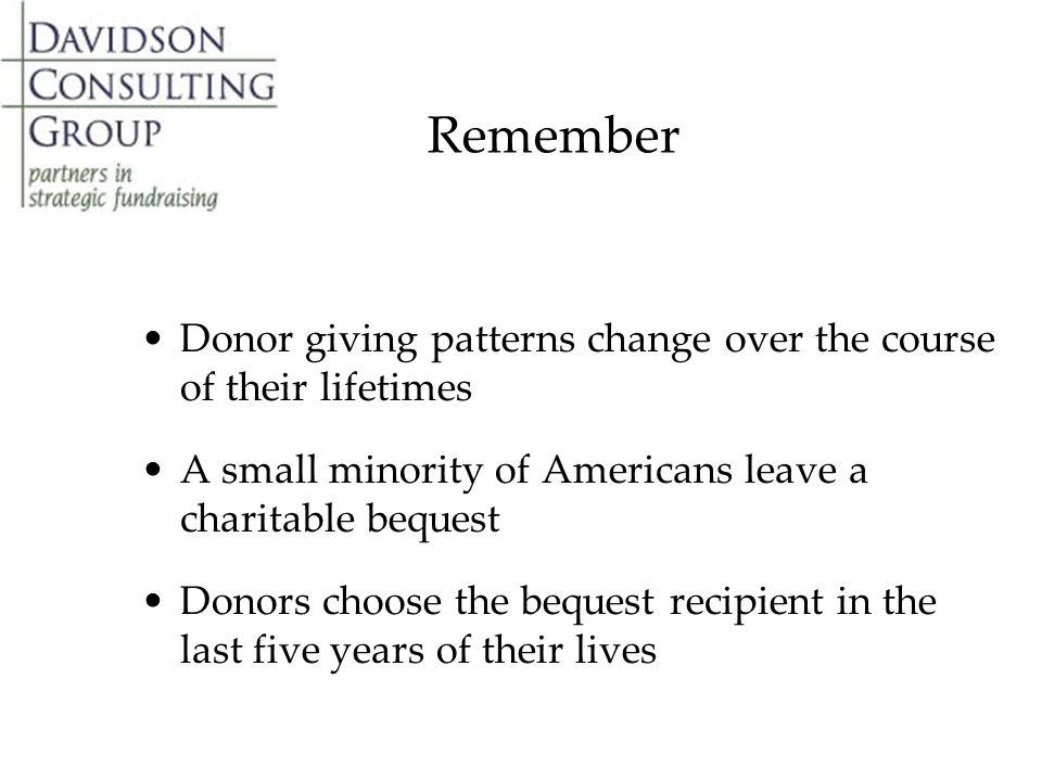 Remember Donor giving patterns change over the course of their lifetimes A small minority of Americans leave a charitable bequest Donors choose the bequest recipient in the last five years of their lives
