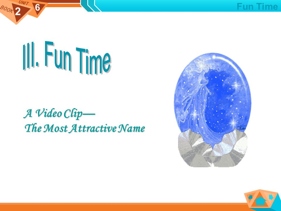 2 6 A Video Clip— A Video Clip— The Most Attractive Name The Most Attractive Name Fun Time