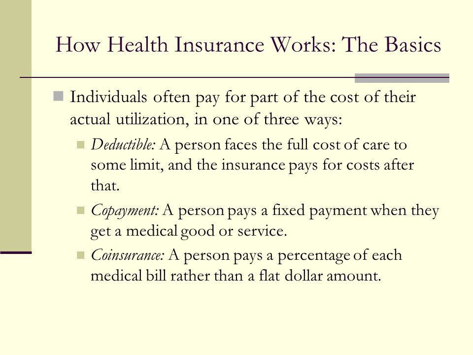 How Health Insurance Works: The Basics Individuals often pay for part of the cost of their actual utilization, in one of three ways: Deductible: A per