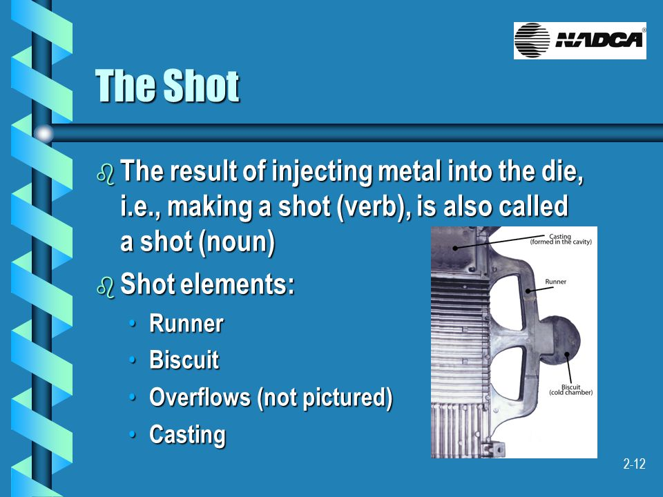 2-12 The Shot b The result of injecting metal into the die, i.e., making a shot (verb), is also called a shot (noun) b Shot elements: Runner Runner Bi