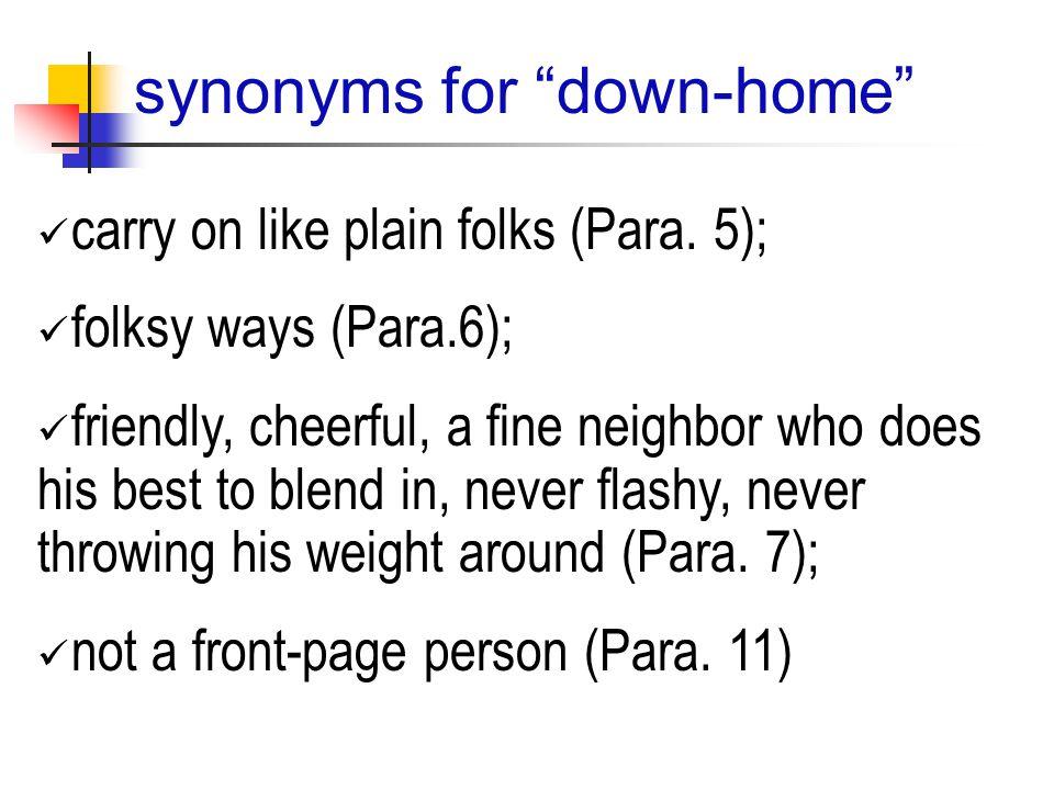 carry on like plain folks (Para.