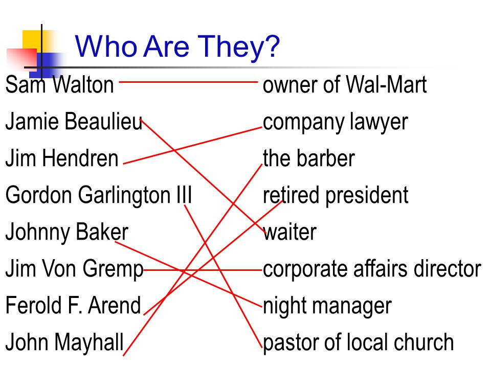 Comprehension & Structure 1.What was the waiter's imagination about Sam Walton's life.