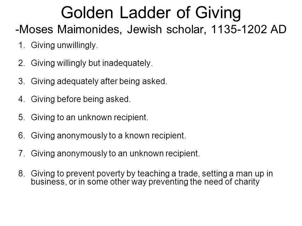 Golden Ladder of Giving -Moses Maimonides, Jewish scholar, 1135-1202 AD 1.Giving unwillingly. 2.Giving willingly but inadequately. 3.Giving adequately