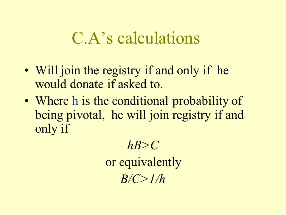 C.A's calculations Will join the registry if and only if he would donate if asked to.