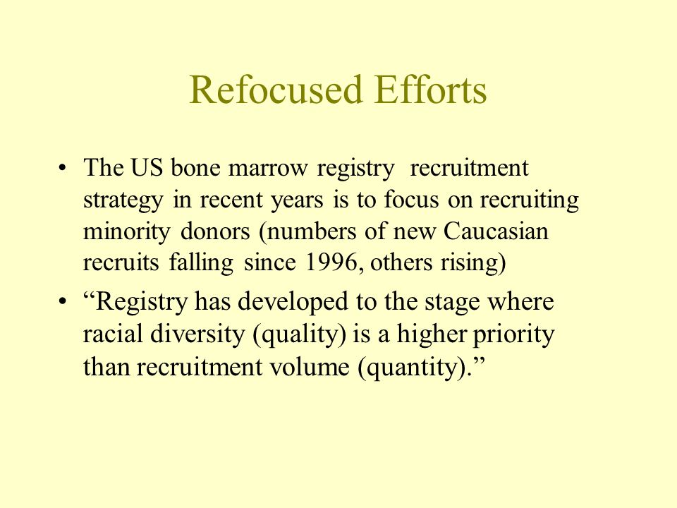 Refocused Efforts The US bone marrow registry recruitment strategy in recent years is to focus on recruiting minority donors (numbers of new Caucasian recruits falling since 1996, others rising) Registry has developed to the stage where racial diversity (quality) is a higher priority than recruitment volume (quantity).