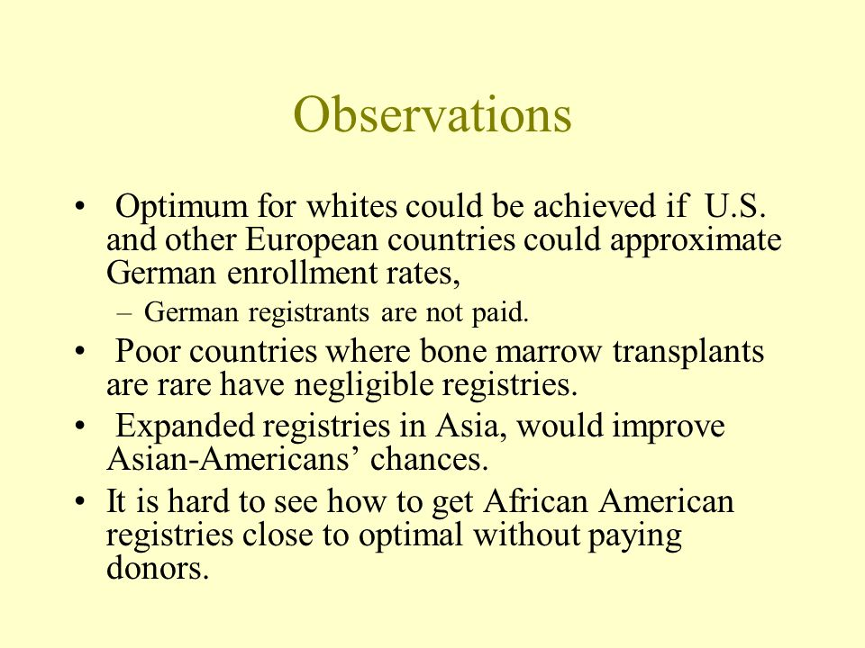 Observations Optimum for whites could be achieved if U.S.