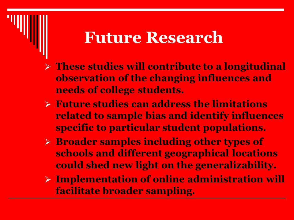 Future Research  These studies will contribute to a longitudinal observation of the changing influences and needs of college students.