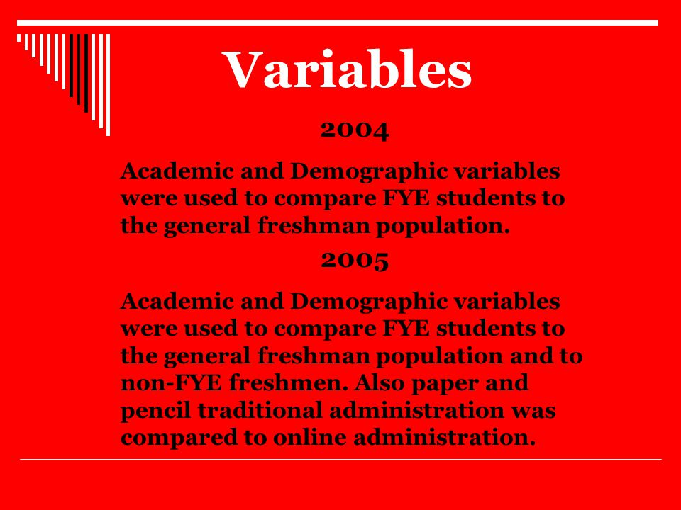 Variables 2005 Academic and Demographic variables were used to compare FYE students to the general freshman population and to non-FYE freshmen.