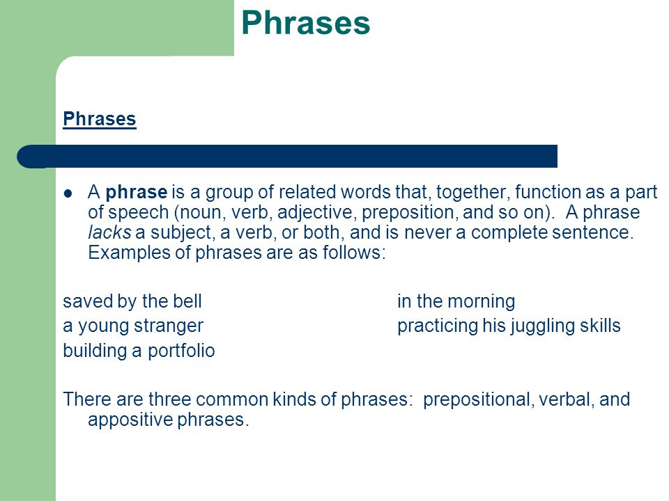 Prepositional Phrases These consist of a preposition, its object, and any modifiers of that object.