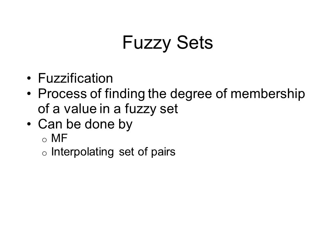 Fuzzy Composition Assume o 3 MF attached to the output  A, B and C o Each MF has been asserted by two different rules  6 rules activated (degrees of support) > 0 o Degrees of support  0.8, 0.4, 0.6, 0.5, 0.7, 0.3 o Prod inference used