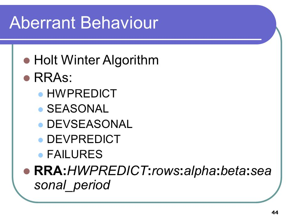 45 Aberrant Behaviour alpha (baseline): 0..1 1: recent observations carry greater weight 0: past observations carry greater weight beta (slope): 0..1 gamma (seasonal): 0..1 failures defaults to 7