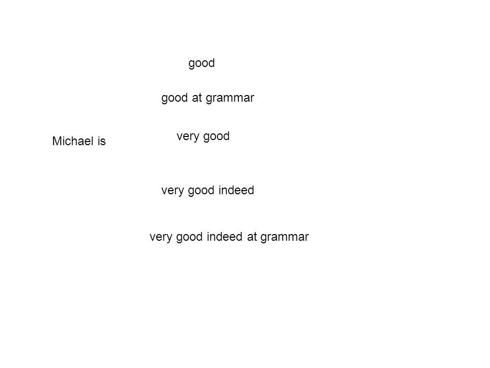 ADJECTIVAL GROUP mhmc h good hc goodat grammar mh verygood mhm verygoodindeed mhmc verygoodindeedat grammar