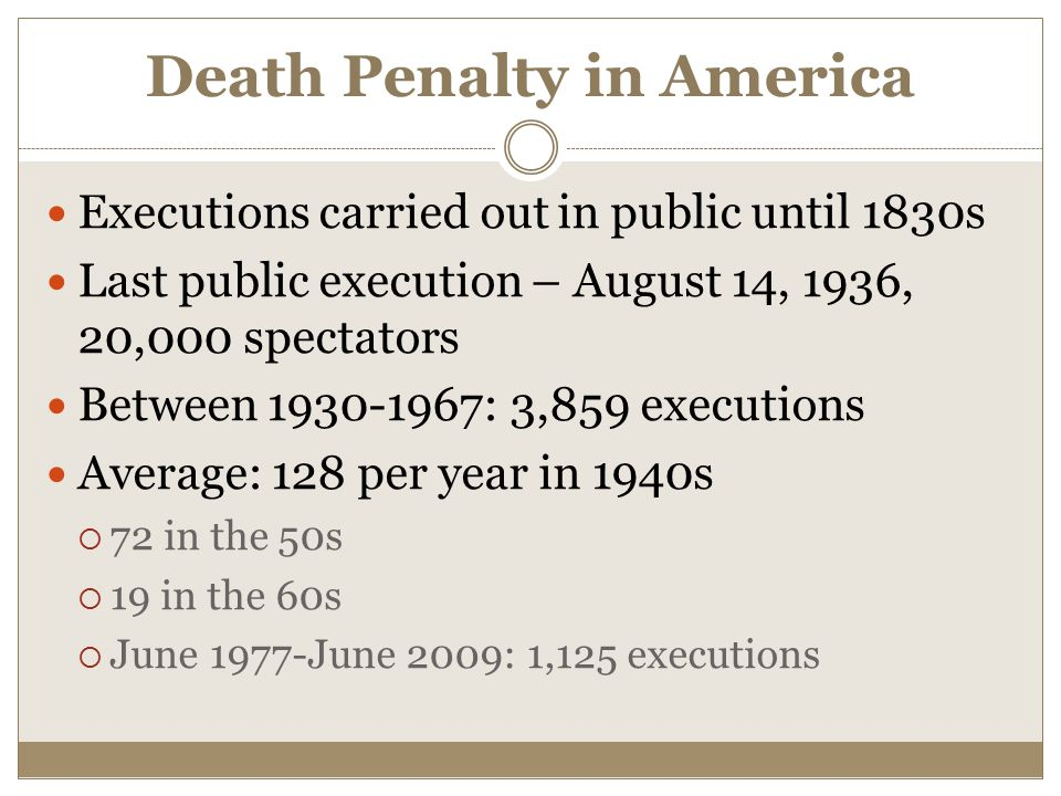 Death Penalty in America Executions carried out in public until 1830s Last public execution – August 14, 1936, 20,000 spectators Between 1930-1967: 3,859 executions Average: 128 per year in 1940s  72 in the 50s  19 in the 60s  June 1977-June 2009: 1,125 executions