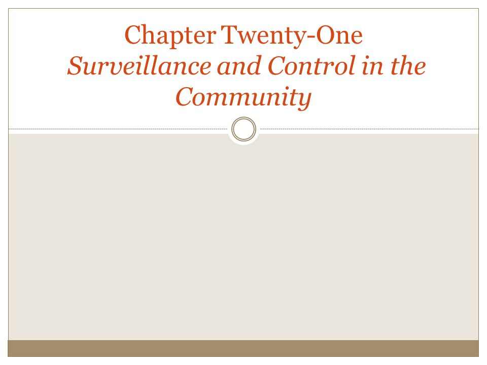 Chapter Twenty-One Surveillance and Control in the Community
