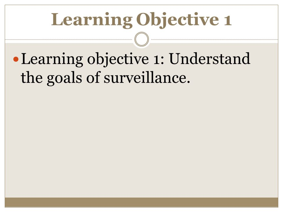 Learning Objective 1 Learning objective 1: Understand the goals of surveillance.