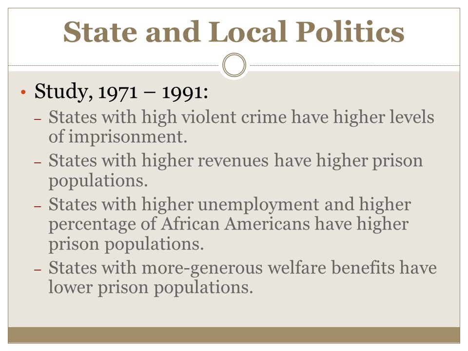 State and Local Politics Study, 1971 – 1991: – States with high violent crime have higher levels of imprisonment. – States with higher revenues have h