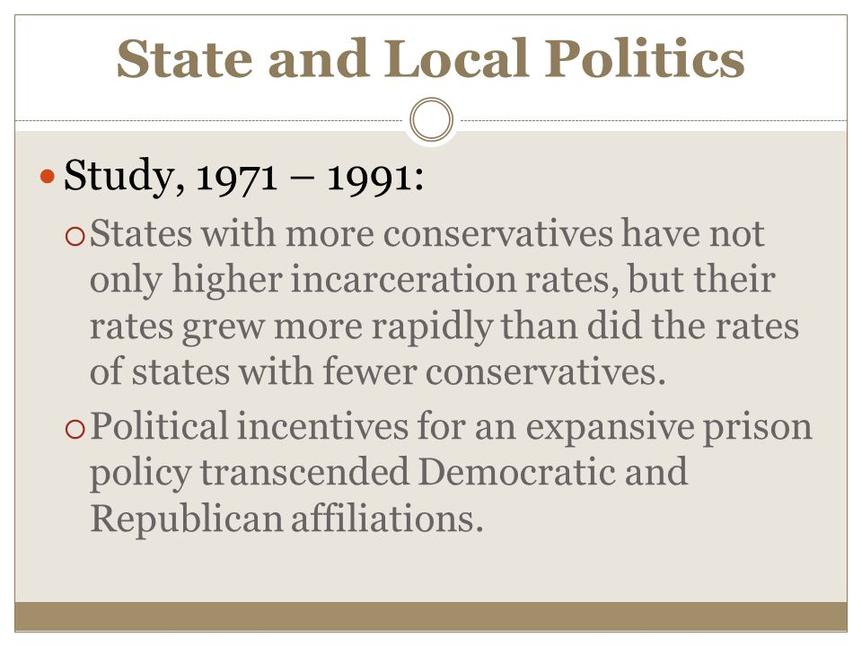 State and Local Politics Study, 1971 – 1991:  States with more conservatives have not only higher incarceration rates, but their rates grew more rapidly than did the rates of states with fewer conservatives.